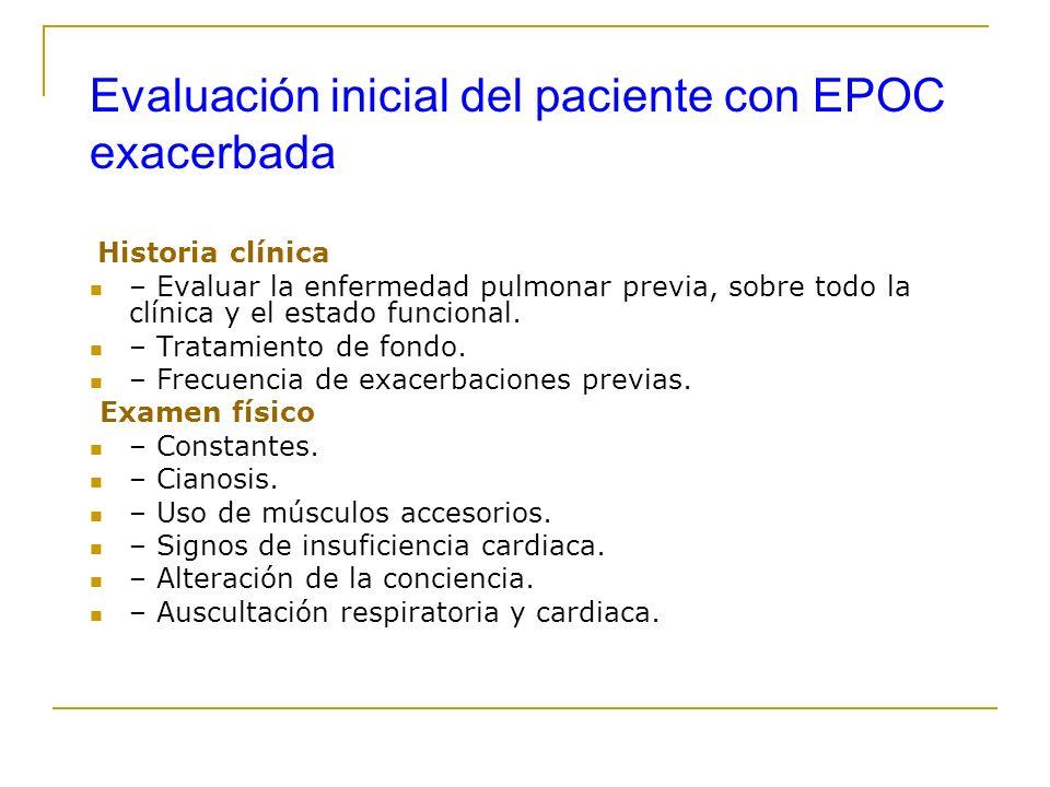 Evaluación inicial del paciente con EPOC exacerbada Historia clínica – Evaluar la enfermedad pulmonar previa, sobre todo la clínica y el estado funcio