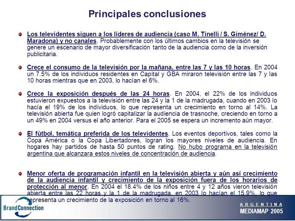 A R G E N T I N A MEDIAMAP 2005 Principales conclusiones Los televidentes siguen a los líderes de audiencia (caso M. Tinelli / S. Giménez/ D. Maradona