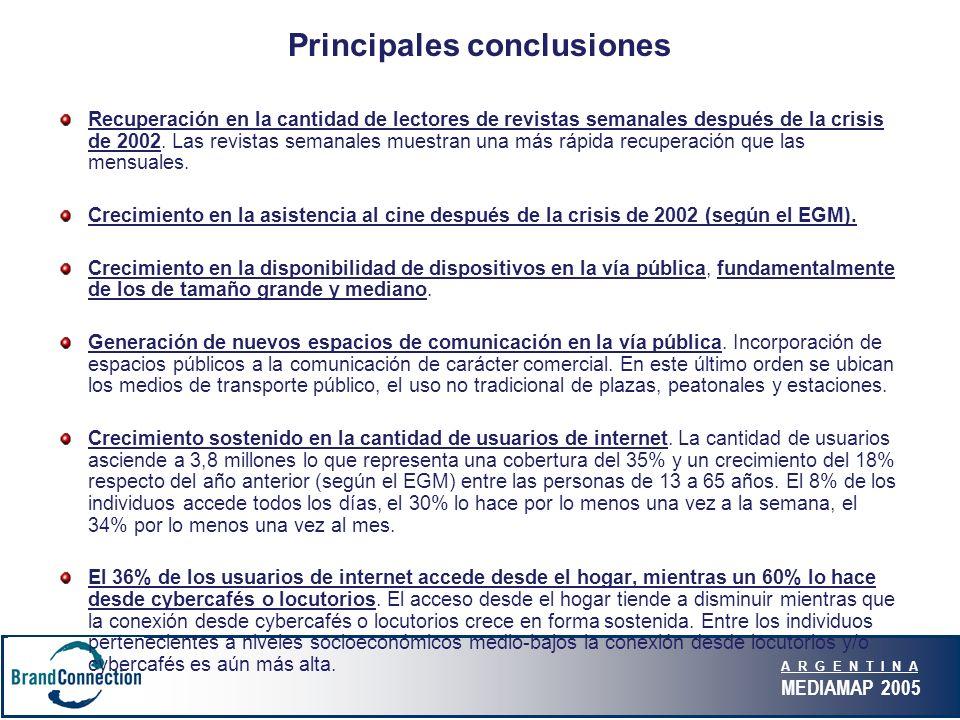 A R G E N T I N A MEDIAMAP 2005 Principales conclusiones Recuperación en la cantidad de lectores de revistas semanales después de la crisis de 2002.