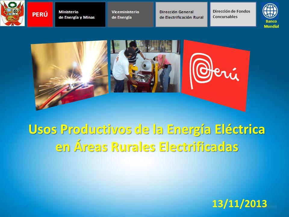 Usos Productivos de la Energía Eléctrica en Áreas Rurales Electrificadas Banco Mundial 13/11/2013 Dirección de Fondos Concursables