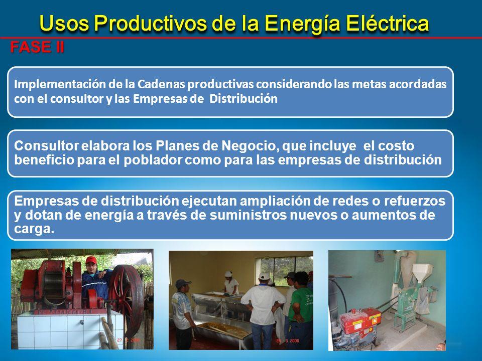 Usos Productivos de la Energía Eléctrica FASE II Implementación de la Cadenas productivas considerando las metas acordadas con el consultor y las Empr