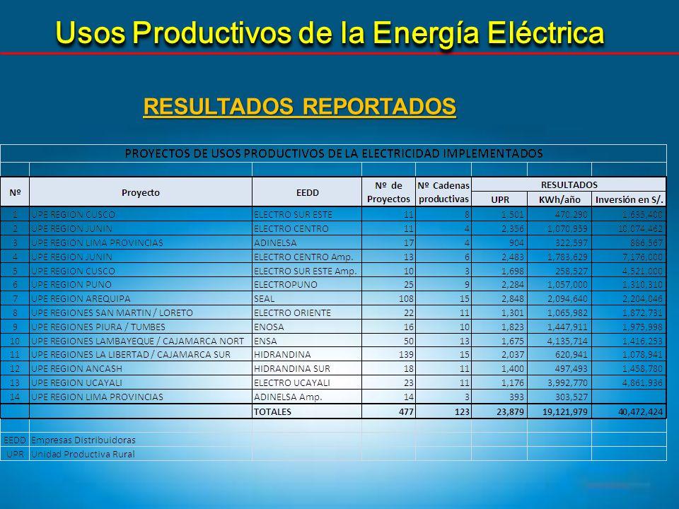 Usos Productivos de la Energía Eléctrica RESULTADOS REPORTADOS