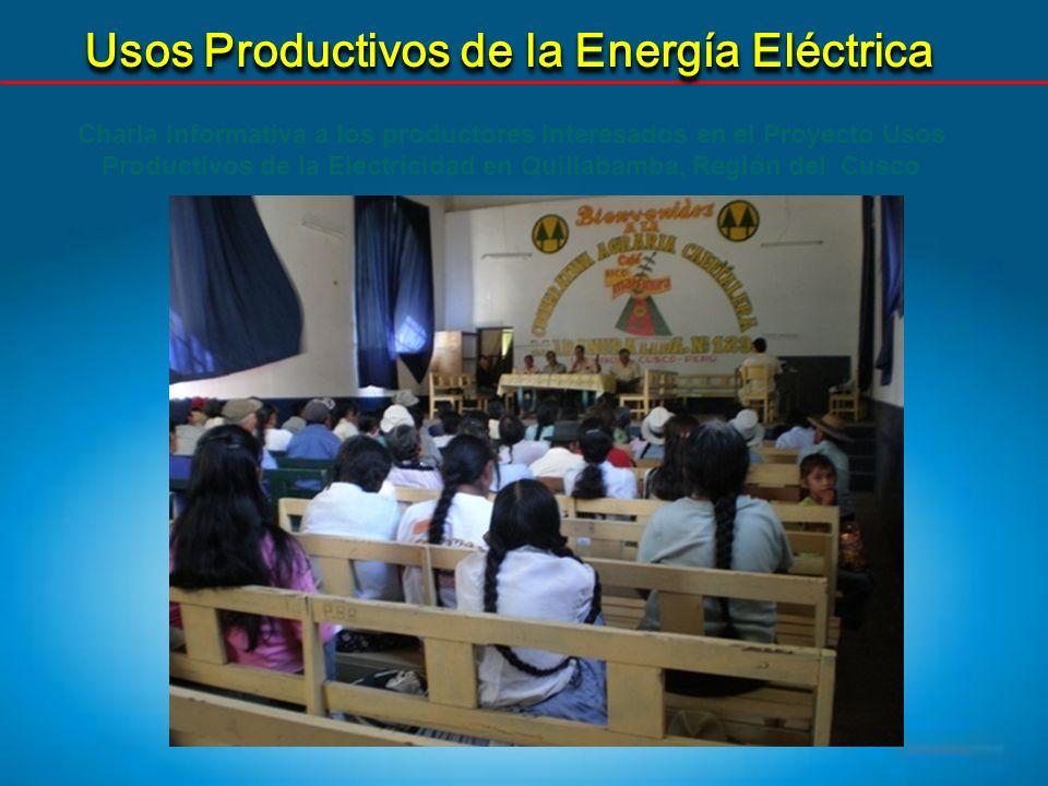 Usos Productivos de la Energía Eléctrica Charla Informativa a los productores interesados en el Proyecto Usos Productivos de la Electricidad en Quilla