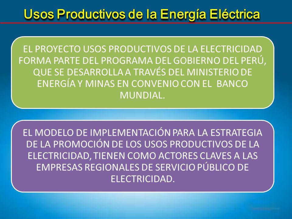 Usos Productivos de la Energía Eléctrica EL PROYECTO USOS PRODUCTIVOS DE LA ELECTRICIDAD FORMA PARTE DEL PROGRAMA DEL GOBIERNO DEL PERÚ, QUE SE DESARR