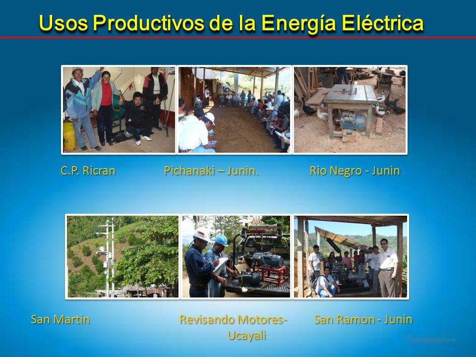 Usos Productivos de la Energía Eléctrica C.P. Ricran Pichanaki – Junin. Rio Negro - Junin San Martin Revisando Motores- San Ramon - Junin Ucayali Ucay