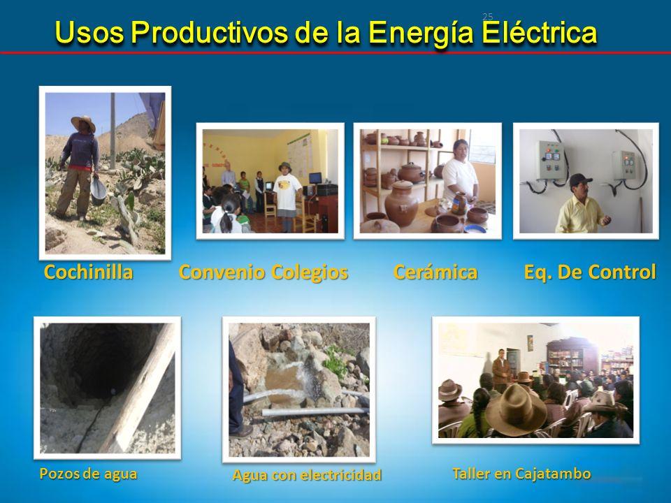 25 Cochinilla Convenio Colegios Cerámica Eq. De Control Pozos de agua Pozos de agua Agua con electricidad Taller en Cajatambo Taller en Cajatambo Usos