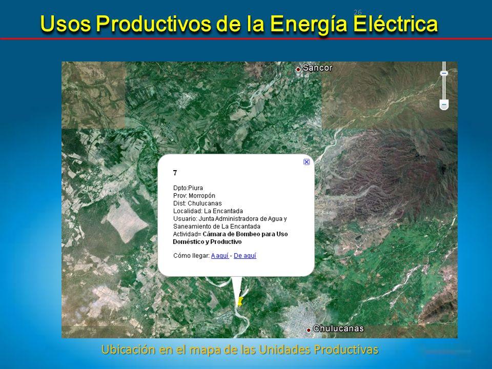 26 Usos Productivos de la Energía Eléctrica Ubicación en el mapa de las Unidades Productivas