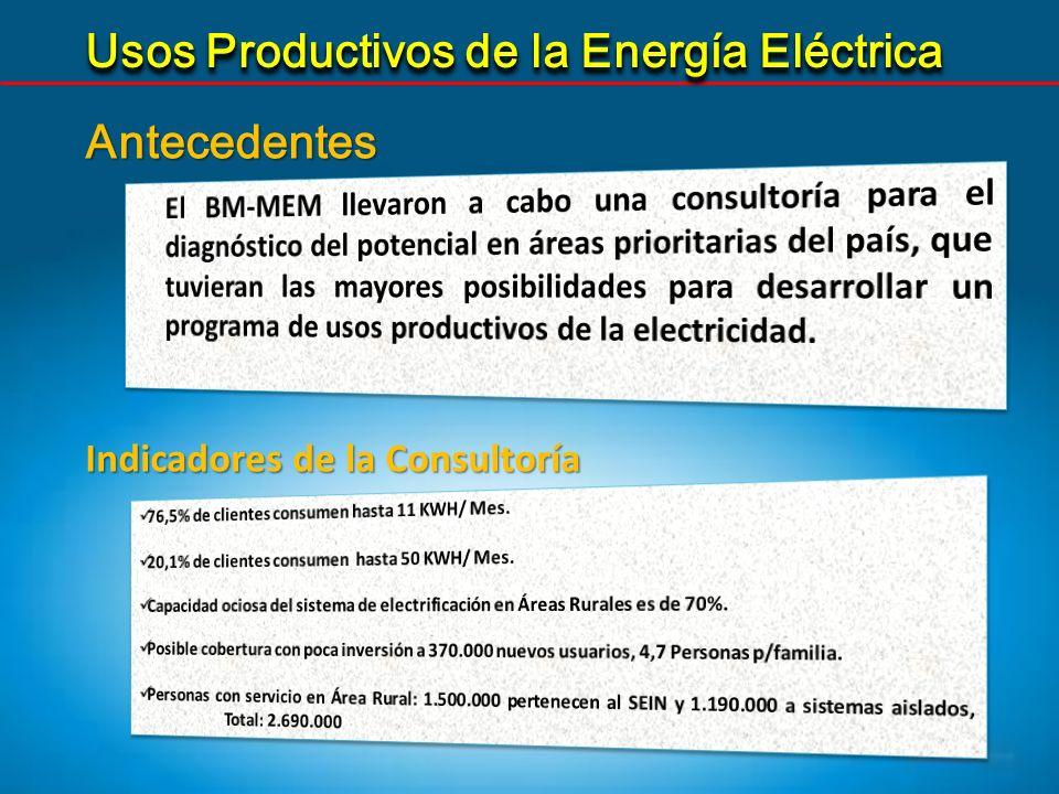 5 Sostenibilidad Incrementar la productividad de los negocios rurales, con cambios tecnológicos en los procesos, con el uso de la energía eléctrica Comprometer a las EE DD en la aplicación de los UPE.