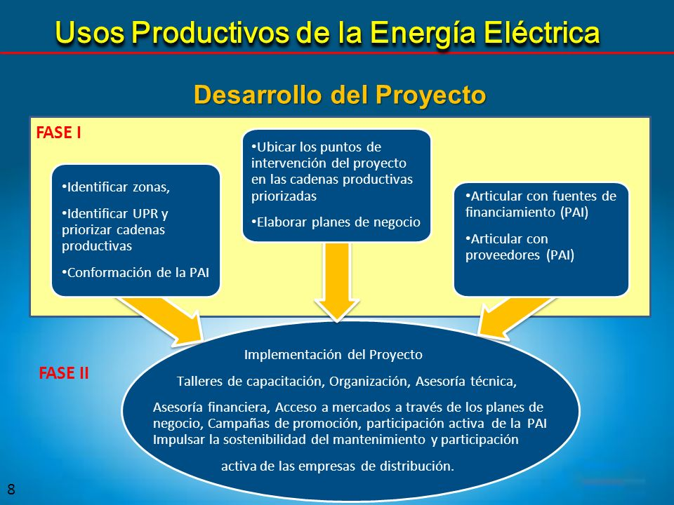 FASE I 8 Implementación del Proyecto Talleres de capacitación, Organización, Asesoría técnica, Asesoría financiera, Acceso a mercados a través de los