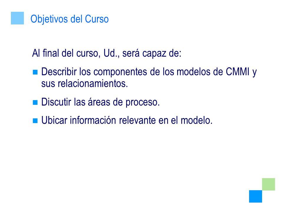 Al final del curso, Ud., será capaz de: Describir los componentes de los modelos de CMMI y sus relacionamientos. Discutir las áreas de proceso. Ubicar
