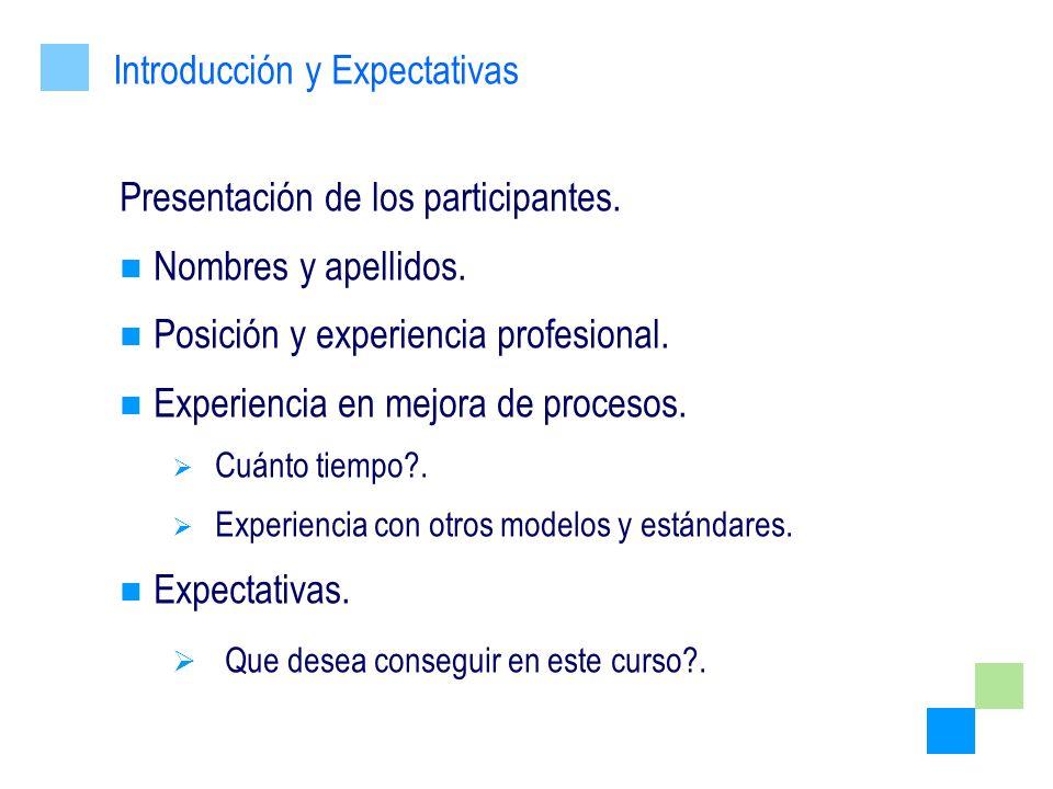 Presentación de los participantes. Nombres y apellidos. Posición y experiencia profesional. Experiencia en mejora de procesos. Cuánto tiempo?. Experie