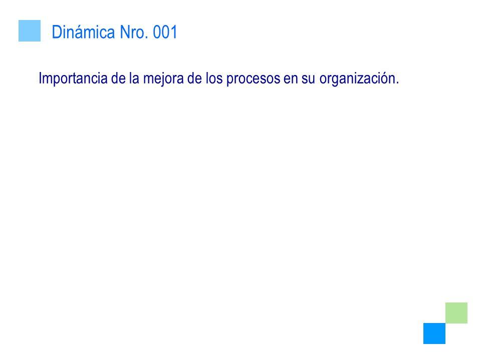 Importancia de la mejora de los procesos en su organización. Dinámica Nro. 001