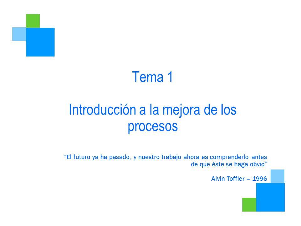 Tema 1 Introducción a la mejora de los procesos El futuro ya ha pasado, y nuestro trabajo ahora es comprenderlo antes de que éste se haga obvio Alvin