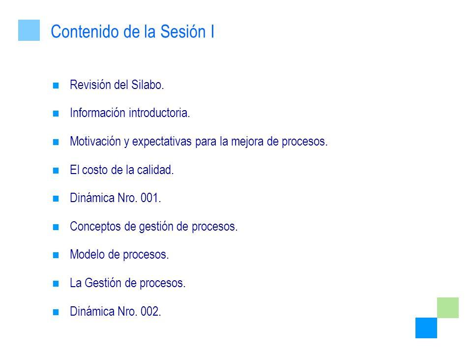 Revisión del Silabo. Información introductoria. Motivación y expectativas para la mejora de procesos. El costo de la calidad. Dinámica Nro. 001. Conce