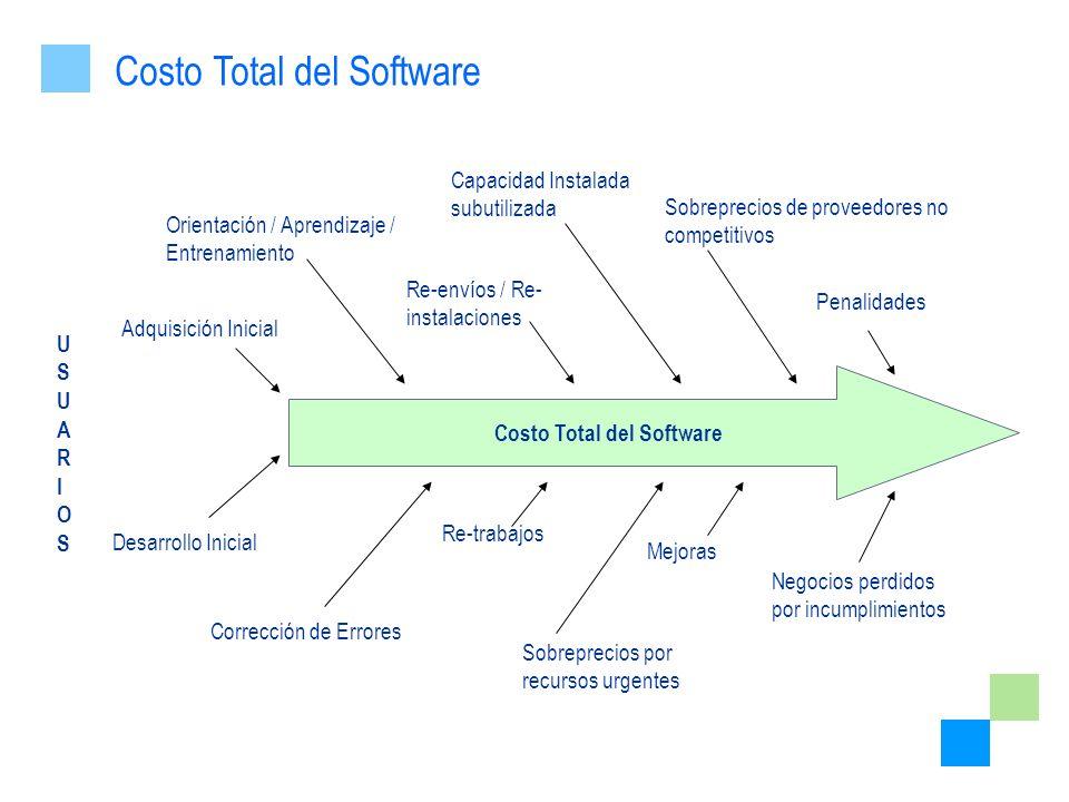 USUARIOSUSUARIOS Costo Total del Software Re-trabajos Negocios perdidos por incumplimientos Mejoras Corrección de Errores Desarrollo Inicial Sobreprec