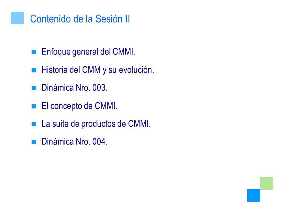 Enfoque general del CMMI. Historia del CMM y su evolución. Dinámica Nro. 003. El concepto de CMMI. La suite de productos de CMMI. Dinámica Nro. 004. C