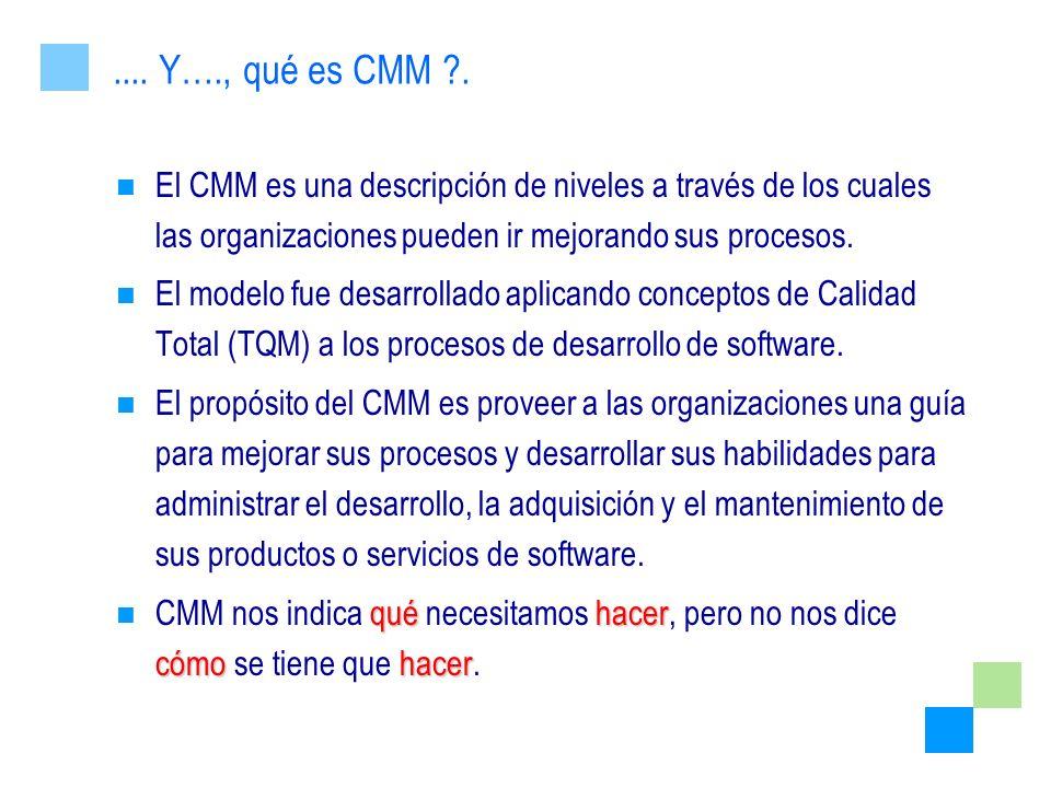 El CMM es una descripción de niveles a través de los cuales las organizaciones pueden ir mejorando sus procesos. El modelo fue desarrollado aplicando