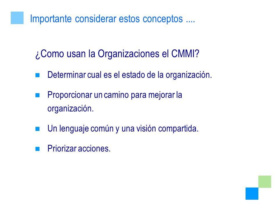 ¿Como usan la Organizaciones el CMMI? Determinar cual es el estado de la organización. Proporcionar un camino para mejorar la organización. Un lenguaj