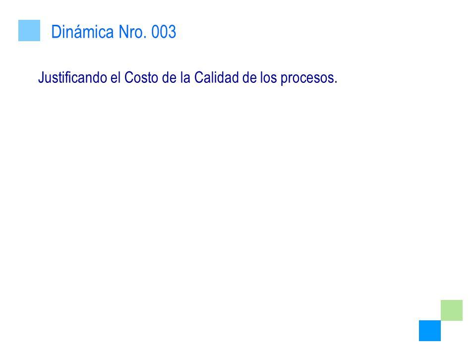 Justificando el Costo de la Calidad de los procesos. Dinámica Nro. 003