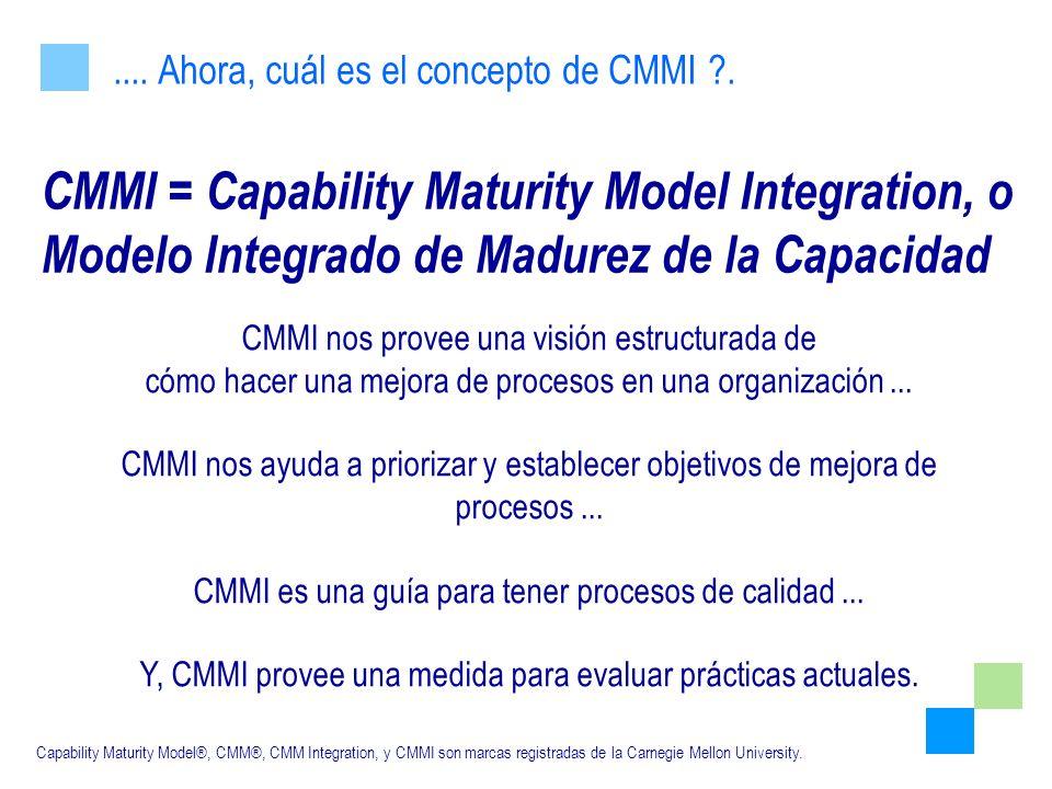 CMMI = Capability Maturity Model Integration, o Modelo Integrado de Madurez de la Capacidad.... Ahora, cuál es el concepto de CMMI ?. Capability Matur
