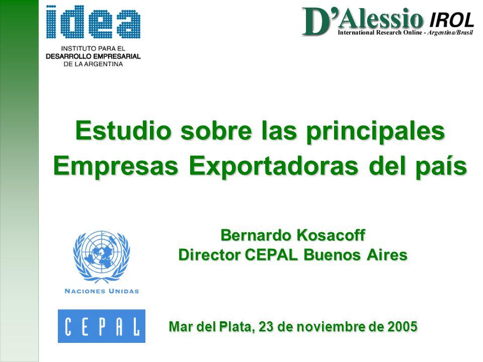 Estudio sobre las principales Empresas Exportadoras del país Bernardo Kosacoff Director CEPAL Buenos Aires Mar del Plata, 23 de noviembre de 2005