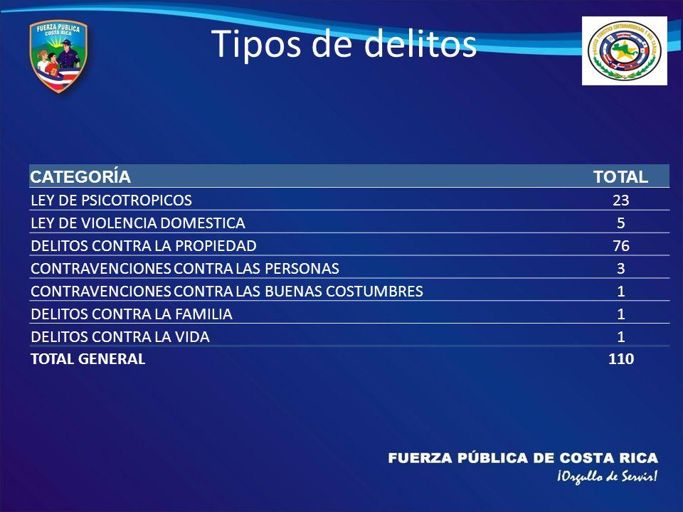 Tipos de delitos CATEGORÍATOTAL LEY DE PSICOTROPICOS23 LEY DE VIOLENCIA DOMESTICA5 DELITOS CONTRA LA PROPIEDAD76 CONTRAVENCIONES CONTRA LAS PERSONAS3 CONTRAVENCIONES CONTRA LAS BUENAS COSTUMBRES1 DELITOS CONTRA LA FAMILIA1 DELITOS CONTRA LA VIDA1 TOTAL GENERAL110