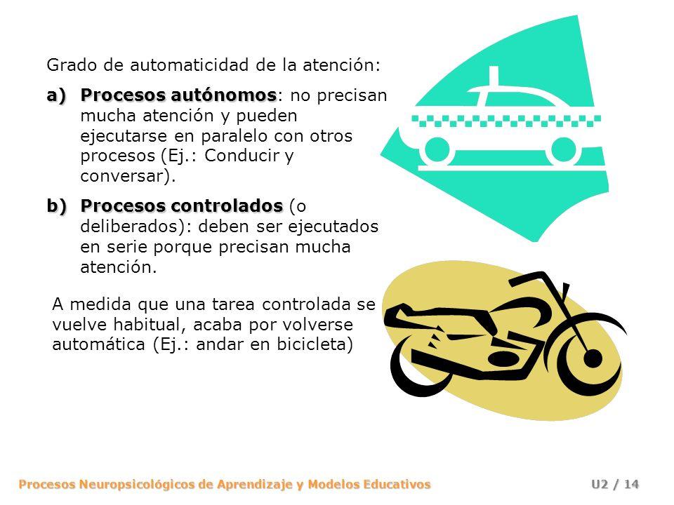 Procesos Neuropsicológicos de Aprendizaje y Modelos Educativos U2 / 14 Grado de automaticidad de la atención: a)Procesos autónomos a)Procesos autónomo