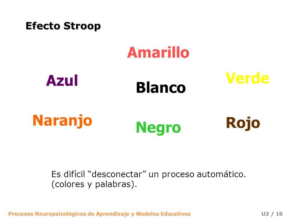 Procesos Neuropsicológicos de Aprendizaje y Modelos Educativos U2 / 16 Efecto Stroop Es difícil desconectar un proceso automático. (colores y palabras