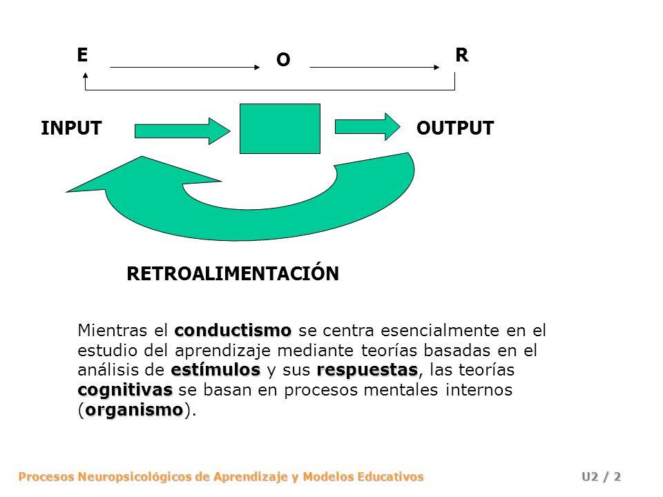 Procesos Neuropsicológicos de Aprendizaje y Modelos Educativos U2 / 2 INPUTOUTPUT RETROALIMENTACIÓN E O R conductismo estímulosrespuestas cognitivas o