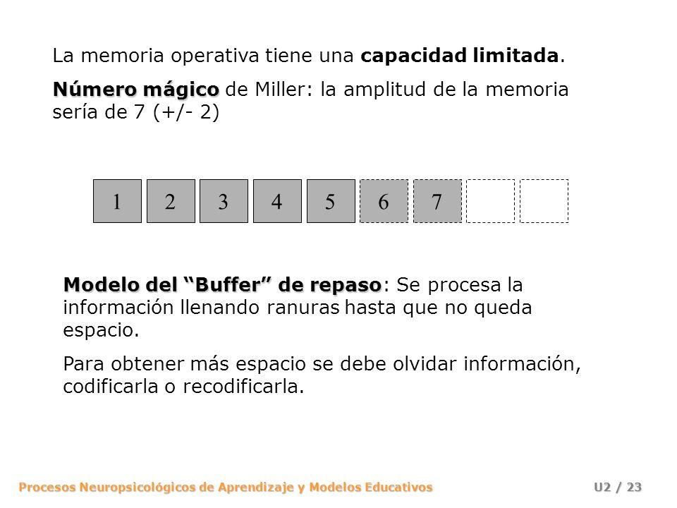 Procesos Neuropsicológicos de Aprendizaje y Modelos Educativos U2 / 23 La memoria operativa tiene una capacidad limitada. Número mágico Número mágico