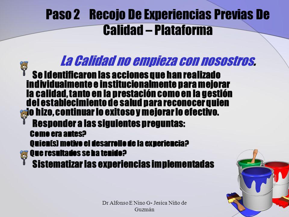 Paso 2 Recojo De Experiencias Previas De Calidad – Plataforma La Calidad no empieza con nosostros.