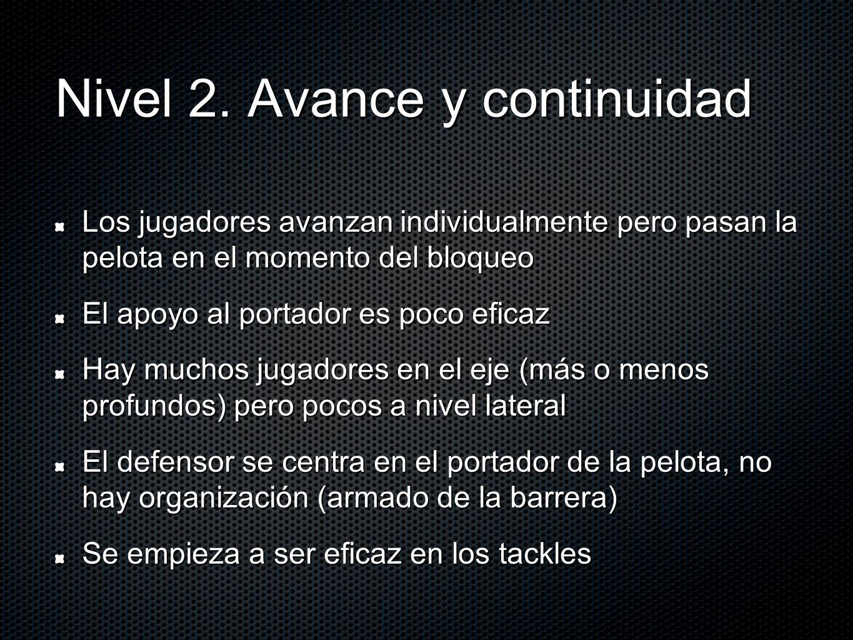 Nivel 2. Avance y continuidad Los jugadores avanzan individualmente pero pasan la pelota en el momento del bloqueo El apoyo al portador es poco eficaz