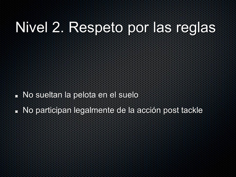 Nivel 2. Respeto por las reglas No sueltan la pelota en el suelo No participan legalmente de la acción post tackle