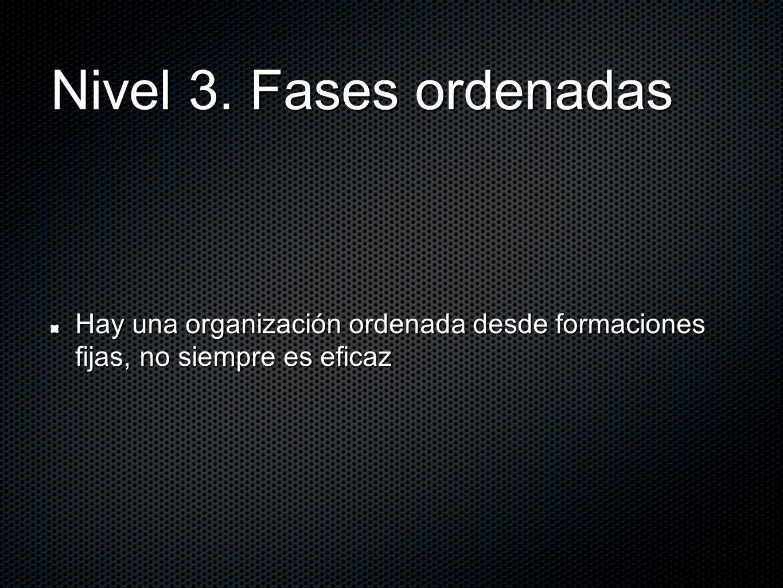 Nivel 3. Fases ordenadas Hay una organización ordenada desde formaciones fijas, no siempre es eficaz