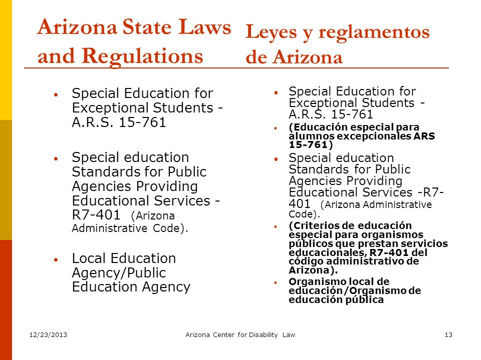 12/23/2013Arizona Center for Disability Law13 Arizona State Laws and Regulations Special Education for Exceptional Students - A.R.S. 15-761 Special ed