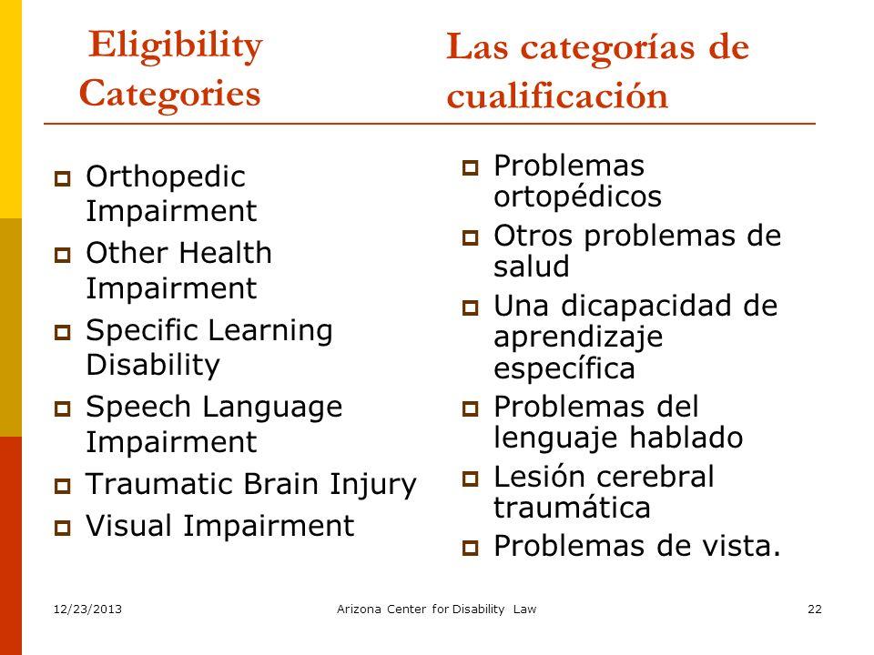 12/23/2013Arizona Center for Disability Law22 Eligibility Categories Problemas ortopédicos Otros problemas de salud Una dicapacidad de aprendizaje esp