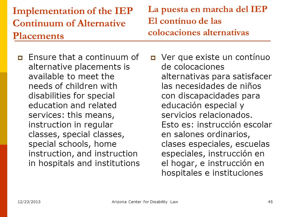12/23/2013Arizona Center for Disability Law45 Implementation of the IEP Continuum of Alternative Placements Ensure that a continuum of alternative pla