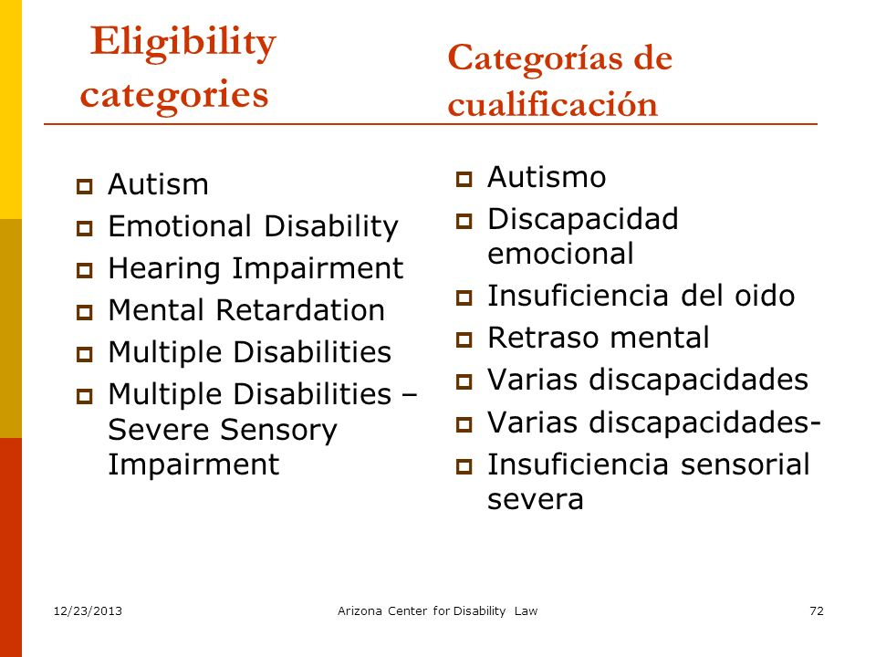 12/23/2013Arizona Center for Disability Law72 Eligibility categories Autism Emotional Disability Hearing Impairment Mental Retardation Multiple Disabi