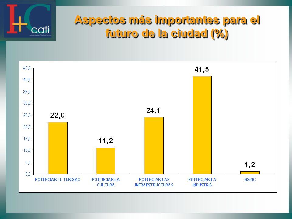 Aspectos más importantes para el futuro de la ciudad (%) Aspectos más importantes para el futuro de la ciudad (%)