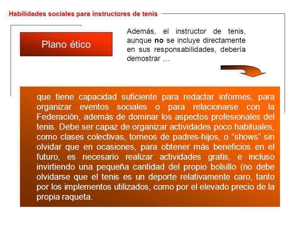 Habilidades sociales para instructores de tenis Plano ético Además, el instructor de tenis, aunque no se incluye directamente en sus responsabilidades