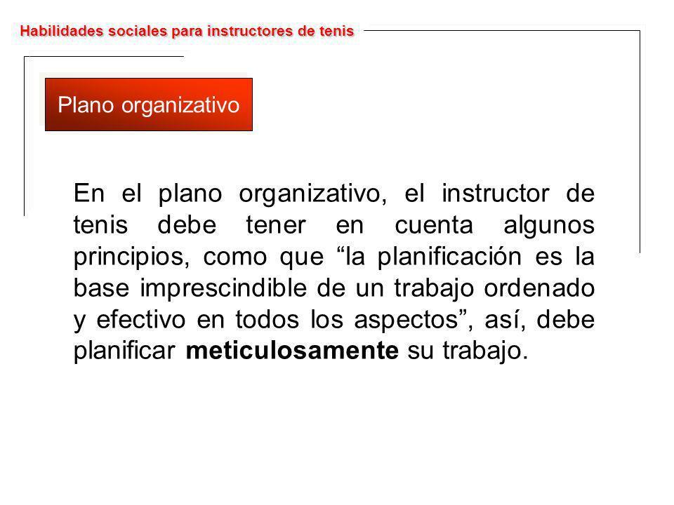 Habilidades sociales para instructores de tenis Plano organizativo