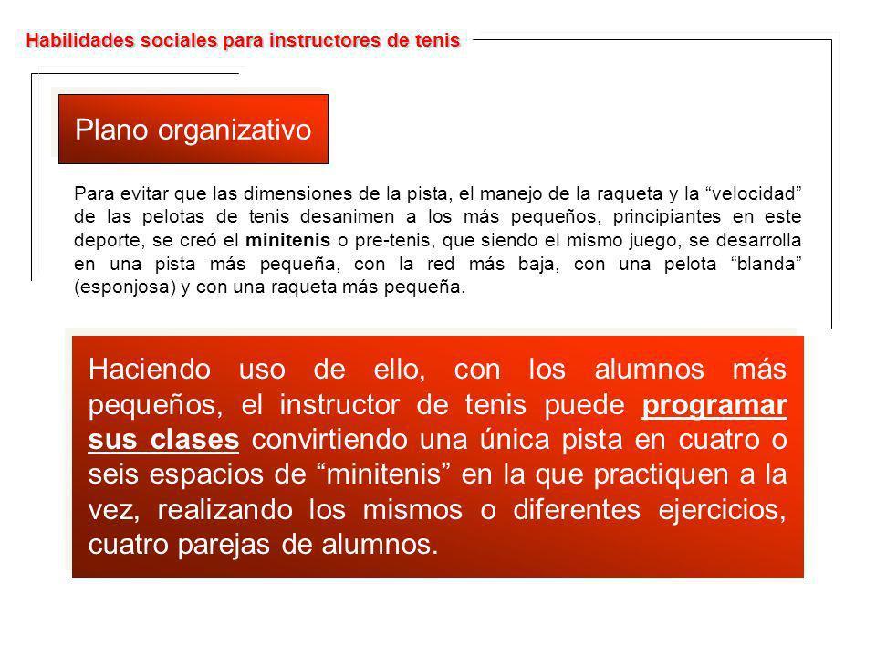 Habilidades sociales para instructores de tenis Plano organizativo Para evitar que las dimensiones de la pista, el manejo de la raqueta y la velocidad