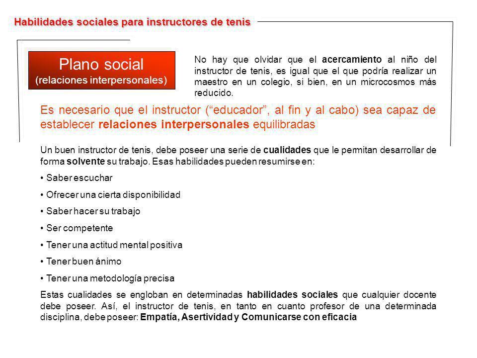Habilidades sociales para instructores de tenis Plano social (relaciones interpersonales) Plano social (relaciones interpersonales) No hay que olvidar