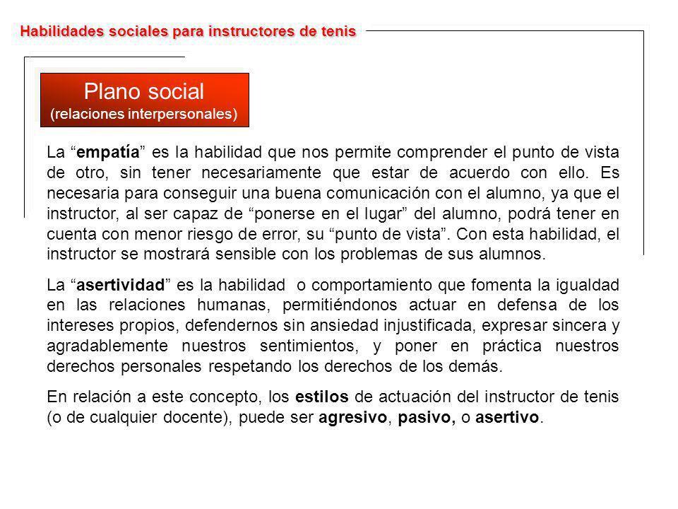 Habilidades sociales para instructores de tenis Plano social (relaciones interpersonales) Plano social (relaciones interpersonales) La empatía es la h