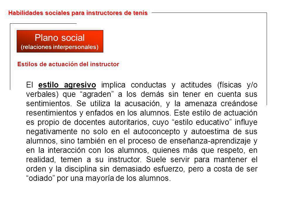 Habilidades sociales para instructores de tenis Plano social (relaciones interpersonales) Plano social (relaciones interpersonales) El estilo agresivo