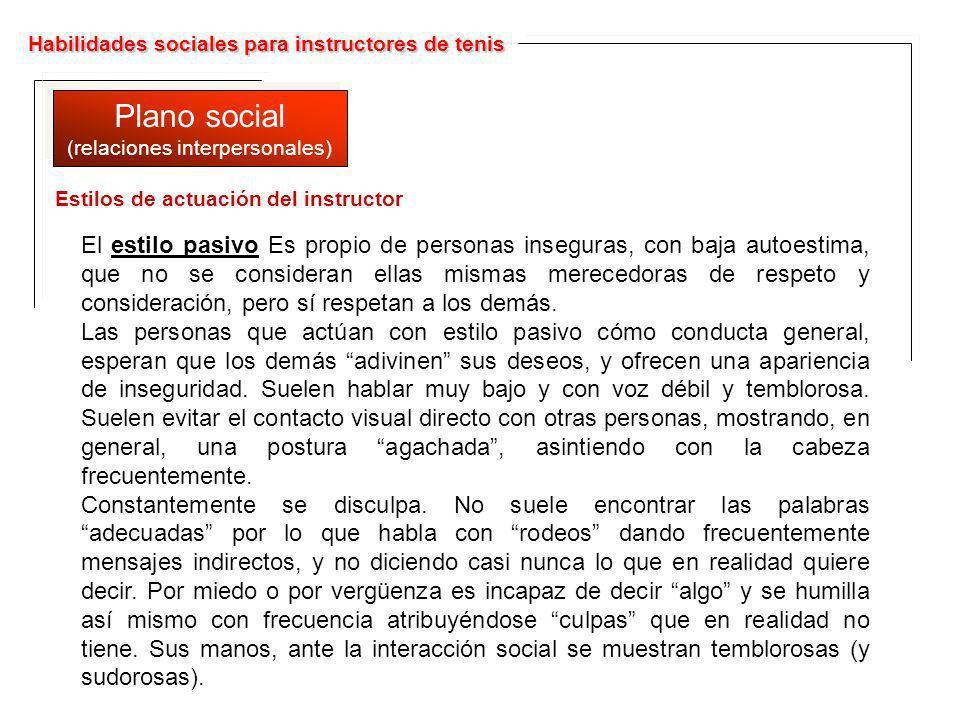 Habilidades sociales para instructores de tenis Plano social (relaciones interpersonales) Plano social (relaciones interpersonales) El estilo pasivo E