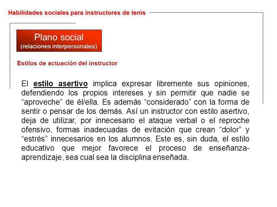 Habilidades sociales para instructores de tenis Plano social (relaciones interpersonales) Plano social (relaciones interpersonales) El estilo asertivo