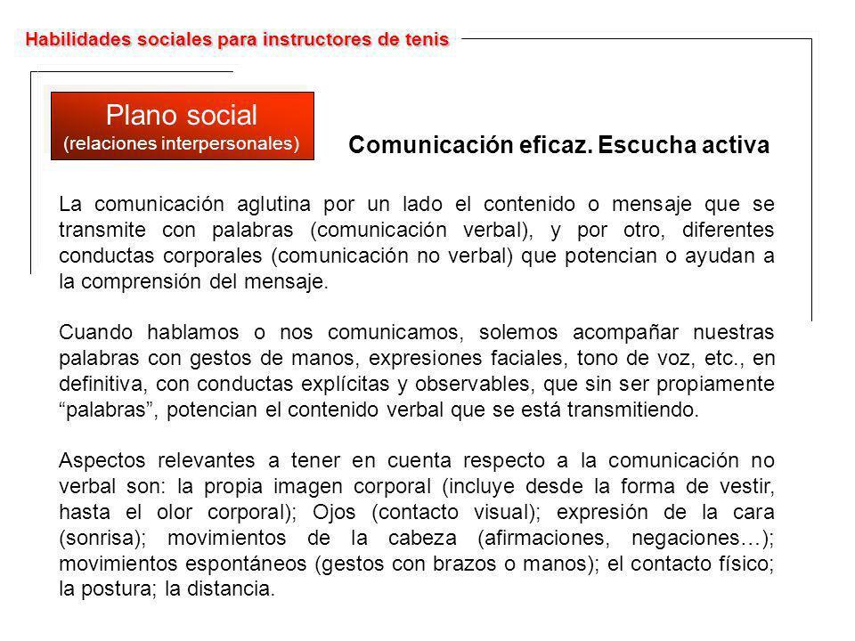 Habilidades sociales para instructores de tenis Plano social (relaciones interpersonales) Plano social (relaciones interpersonales) La comunicación ag