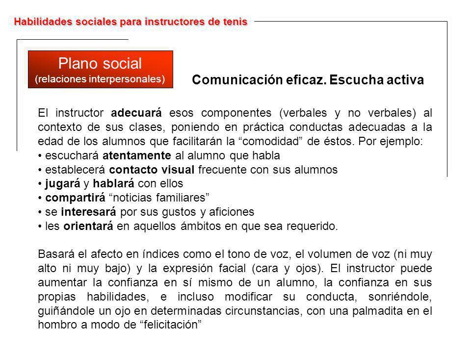 Habilidades sociales para instructores de tenis Plano social (relaciones interpersonales) Plano social (relaciones interpersonales) El instructor adec