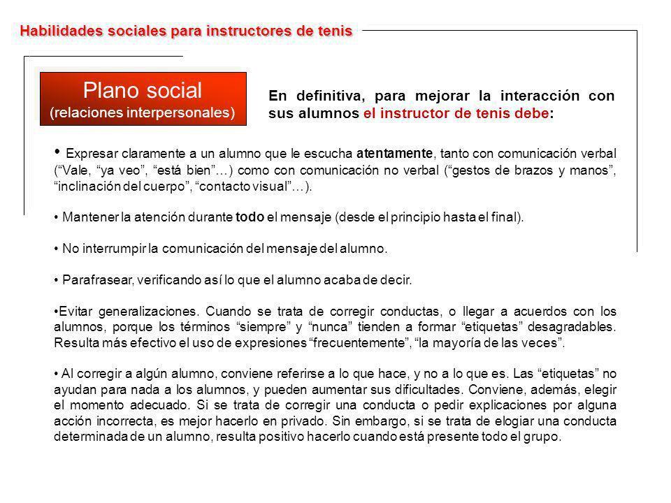 Habilidades sociales para instructores de tenis Plano social (relaciones interpersonales) Plano social (relaciones interpersonales) Expresar clarament